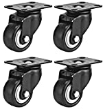Swivel Caster Wheels Rubber Base with Top Plate & Bearing Heavy Duty Pack of 4 Black by Online Best Service (2.5' NO Brake)