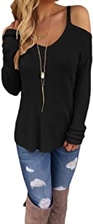 Eiffel Women's Cold Shoulder Knit Long Sleeves Pullover Sweater Tops Blouse Tunic