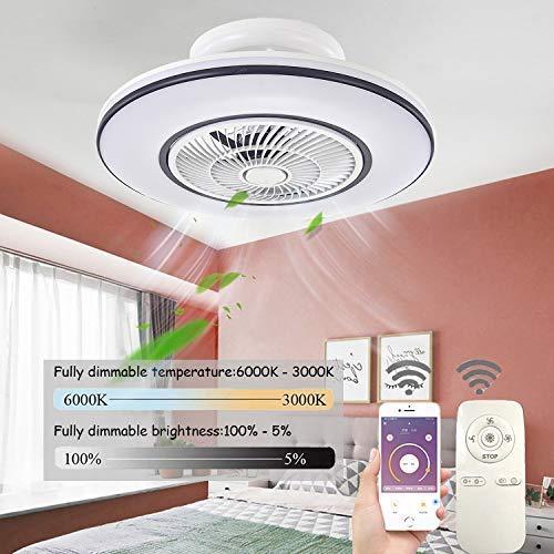 LED-Deckenventilator mit Beleuchtung, Deckenventilator mit Beleuchtung superleise Einstellbare Windgeschwindigkeit Dimmbare Fernbedienung, 80W Moderne Kinderzimmer Schlafzimmer Beleuc.