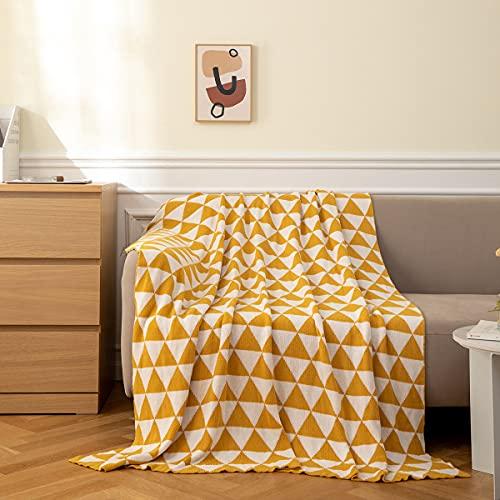 MYLUNE HOME 100% Baumwolle Doppelt Gestrickt Strickdecke für Fernsehen oder Nap auf dem Stuhl, Sofa und Bett 130 * 160cm Gelb