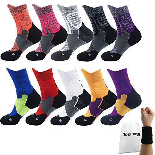 Dee Plus Basketballsocken Outdoor Fußball Socken Sportsocken | Trekkingsocken | Wandersocken | Outdoorsocken Funktionssocken Set Atmungsaktiv Für Damen & Herren 2019 (Weiß Pink Schwarz Rot Gelb Blau)