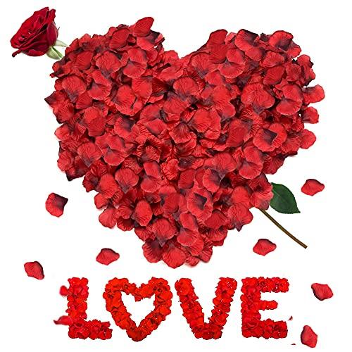 RANJIMA Petali di Rosa, 3000 Pezzi Petali di Rosa Rossa finti, Petali Rose Rosse, Rose Petals per Matrimonio Festa di San Valentino Decorazione Festa di Compleanno Casa Deco Atmosfera Romantica