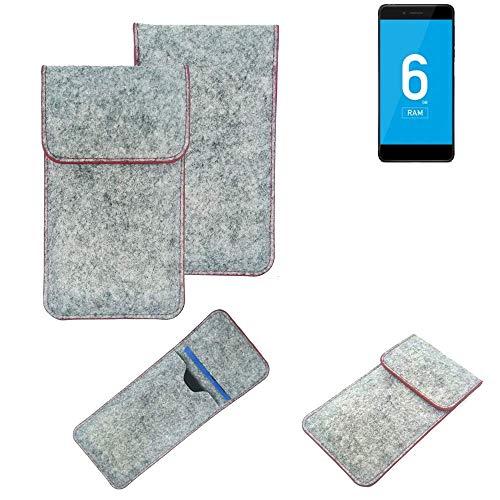 K-S-Trade® Handy Schutz Hülle Für Vernee Mars Pro 4G Schutzhülle Handyhülle Filztasche Pouch Tasche Hülle Sleeve Filzhülle Hellgrau Roter Rand