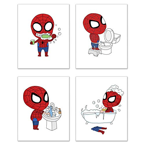 Spiderman Bathroom Prints - Set of 4 (8 inches x 10 inches) Wall Art Decor
