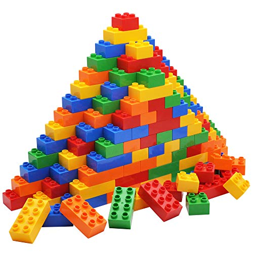 JOYIN Big Building Blocks 100pieces Classic Bricks 5 Colors | Large Building Bricks STEM Toy for All Ages Compatible with Major Brands