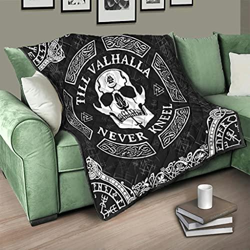 Flowerhome Colcha vikinga Odin Rabe de cuervo para cama, sofá, cama, cama, cama, cama, sofá, TV, manta para sofá o cama, color blanco, 130 x 150 cm