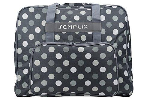 SEMPLIX XL-Nähmaschinentasche, Polka Dots Anthrazit/Grau, 52x42x27 cm, Große stabile Transport und Aufbewahrungs Tasche für große Nähmaschinenmodelle
