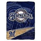 NORTHWEST MLB Milwaukee Brewers Raschel Throw Blanket, 60' x 80', Speed