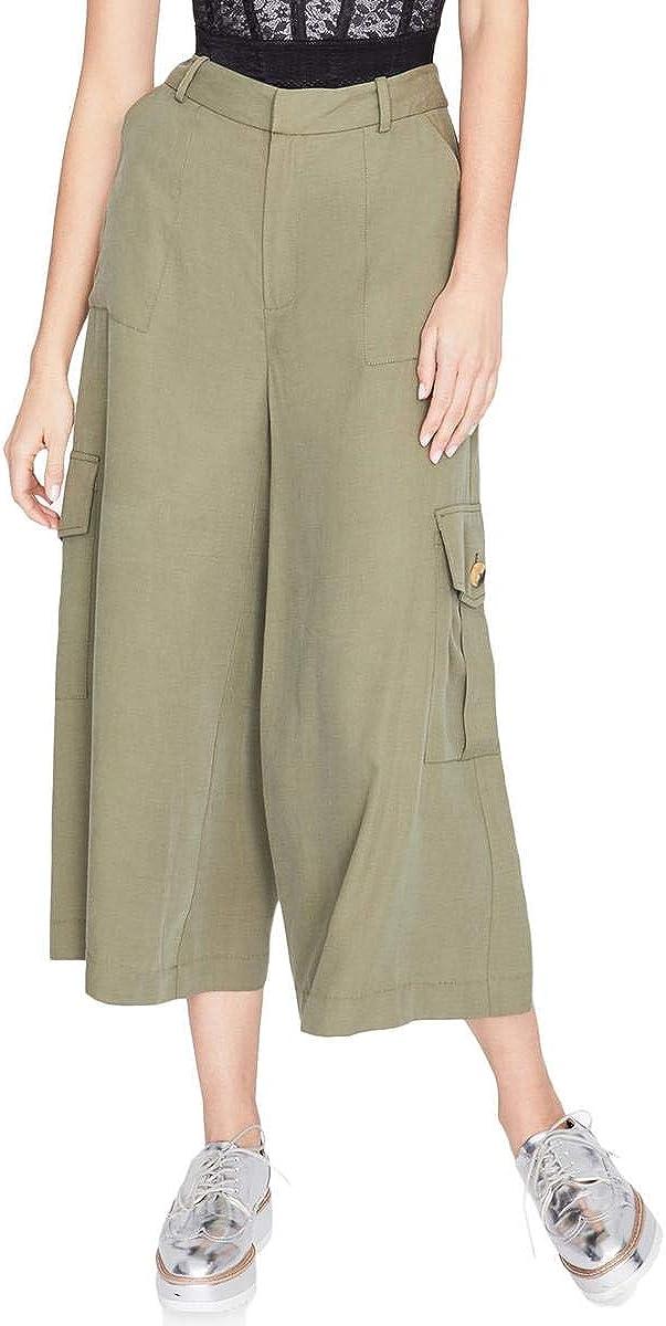 Rachel Roy Womens Wide Leg Casual Cargo Pants, Green, 0