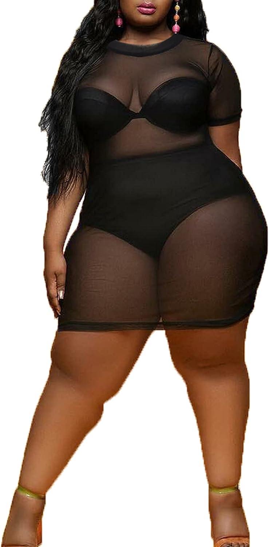 woshilaocai Mesh Swimsuit Cover Up for Women Plus Size Beach Bikini Cover Up Bodycon See Through Dress