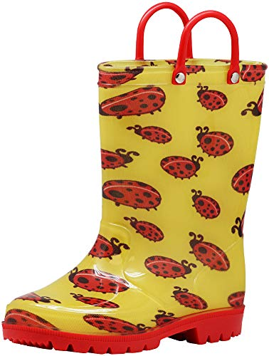 Norty - Girls PVC Waterproof Lady Bugs Rain Boots, Yellow, Red 41288-1MUSLittleKid