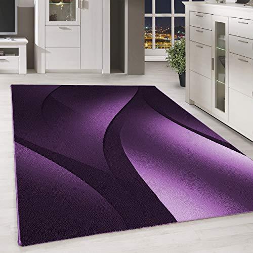 HomebyHome - Tappeto moderno a pelo corto, astratto, motivo ombreggiato, per soggiorno, viola, rosa, mélange, dimensioni: 200 x 290 cm