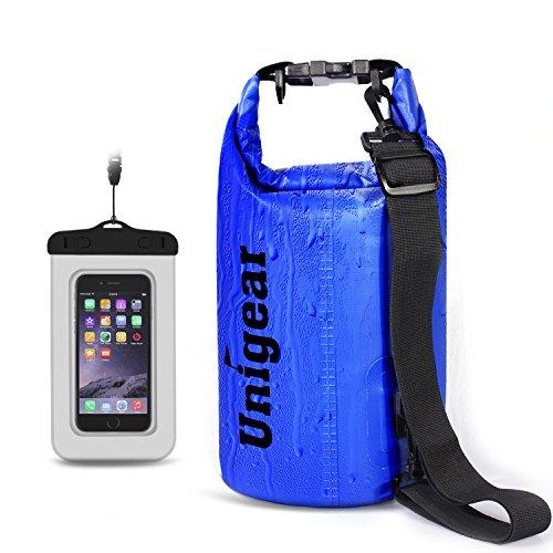 Sacco Dry Bag Borse Impermeabile, Dry Bag Galleggiante può Essere Usato per la Navigazione, Trekking, Kayak, Canoa, Pesca, Rafting, Nuoto, Campeggio, Sci e Snowboard con Omaggio Gratuito di Una Custodia Telefono Impermeabile Universale (Blu, 20L)