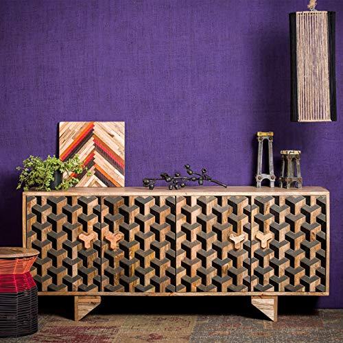 Aparador 3D Native Home, aparador de madera de mango, mueble de almacenamiento macizo de tocador Al x An x Pr: 75 x 177 x 45 cm, marrón