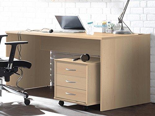 möbelando Schreibtisch Bürotisch Computertisch Arbeitstisch Tisch Büromöbel Olli I Buche