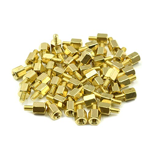 HONJIE M2.5 x 5mm + 4mm Male to Female Thread Brass Hexagon Hex Standoff Spacer Pillars - (50 Pcs)