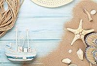 HD 7x5ftビニール夏のビーチ写真の背景ヨットヨットヒトデロープ背景休日観光男性女性子供写真ブース撮影スタジオの小道具