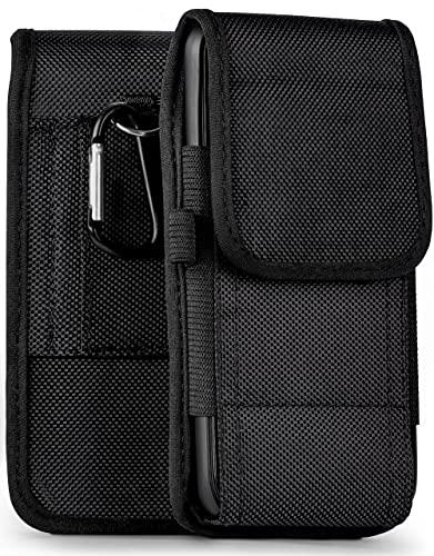 moex Agility Hülle für Nokia 3.1 Plus - Hülle mit Gürtel Schlaufe, Gürteltasche mit Karabiner + Stifthalter, Outdoor Handytasche aus Nylon, 360 Grad Vollschutz - Schwarz