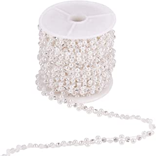 PandaHall Elite 10 Rards/Roll ABS Plastic Imitation Pearl and Rhinestone Chain Pearl Bead String for Wedding Party Decoration Sewing Trims Cake Decoration, White