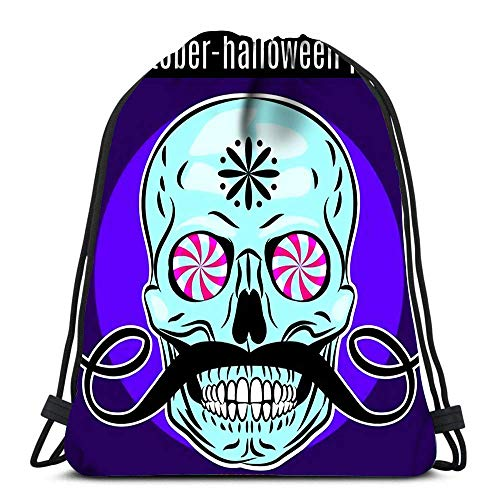 Geschenktasche,Sporttaschen,Tanz Taschen,Leichter Turnbeutel,Tunnelzug Gymsack,Halloween Party Design Vorlage Flyer Funny Skull Durable