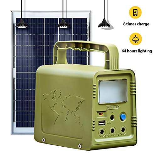 ECO-WORTHY 148/5000 Solar-verlichtingsset, 18 W, complete set voor huis-zonne-verlichting, DC, voor noodgevallen, hurriccaan, camping met USB-zonne-oplader, LED-lamp