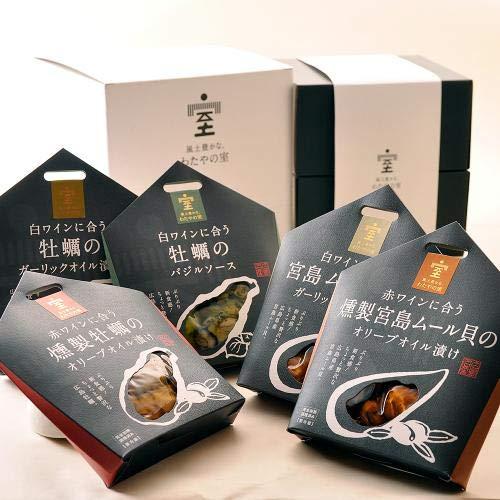 わたやの室 ぷりぷり新食感!ちょっと贅沢な広島牡蠣と宮島ムール貝のセット 燻製 ガーリック バジル ムール貝のガーリック 燻製ムール貝