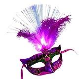 Auwer Masquerade Mask, Women LED Fiber Mask Mardi Gras Party Fancy Costumes Mask (Hot Pink)
