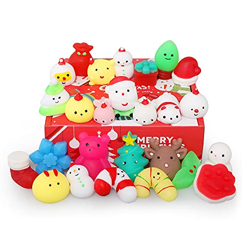 Squishies, Mochi Squishy Toys - Christmas Kawaii Cat Squishys Slow Rising Animals - Party Favors, Goodie Bag, Birthday Gifts, Mini Squishies Stress Reliever Toy Pack