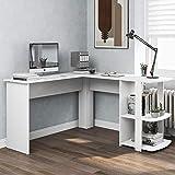 JIESD-Z Weißer Eckschreibtisch, L-förmiger Schreib-Arbeitsplatz, Heimbüro-Schreibtisch mit 2 Ablagen, für Gaming-Arbeiten, einfach zu montieren