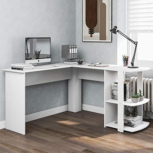 VSTAR66 Schreibtisch, Eckschreibtisch, L-förmiger Computertisch aus MDF, Bürotisch mit 2 Ablagen, für Büro/Home Office, vergrößerter Desktop 140 x 50 x 75 & 140 x 40 x 75 (Weiß)