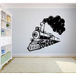 Train Ride Smoke Toy Railroad Railway Rail Trains Wall Sticker Art Decal for Girls Boys Kids Room Design Bedroom Nursery Kindergarten Garage House Fun Home Decor Stickers Wall Art Vinyl Decoration