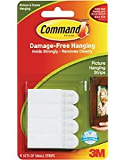 Command Small Picture Hanging Strips, 17202ES /17202, White, H0.171 x W0.098 x D0.007 m