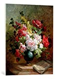 Kunst für Alle Cuadro en Lienzo: Emile Henri Brunner-Lacoste Still Life with Flowers and Sheet Music - Impresión artística, Lienzo en Bastidor, 65x80 cm