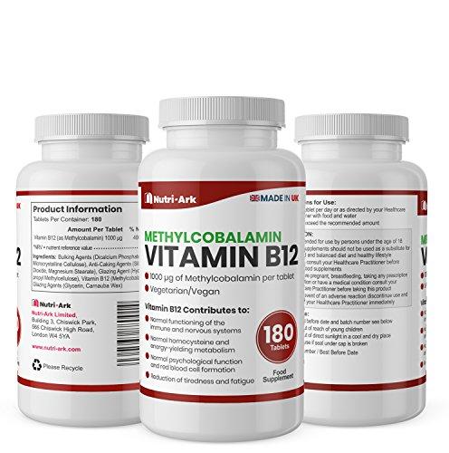 Vegan-Vitamin-B12-Methylcobalamin-1000mcg-180-Tablets-6-Months-Supply-Made-in-The-UK-by-Nutri-Ark