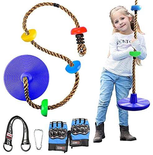 Baumklettern Schaukel,Schaukelteller Runde Hängeschaukel Garten Schaukel Tellerschaukel Swing Seilleiter mit Sicherungshaken und Trittflächen,Handschuhe für Kinder Spielplatz
