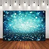 Prom Dance Decoration Photography Backdrop Shining Spot Bokeh Glitter Sparkle Blue Photo Background for Portrait Wallpaper Vinyl 7x5ft Birthday Party Supplies Photo Booth Studio Props Pictures