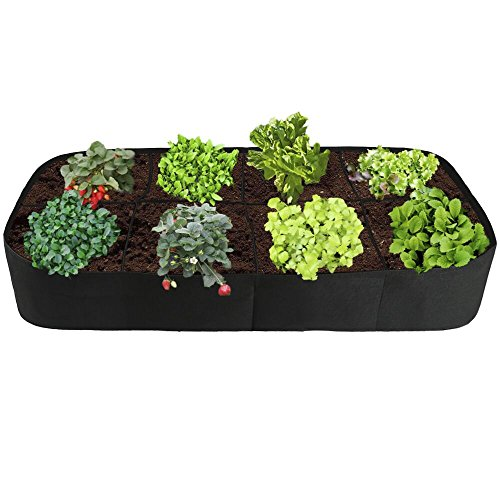 Raised Garden Bed,Divided 8 Grids Fabric Raised Planting Bed Rectangle Garden Grow Bag for Herb Flower Vegetable Plants,3ft x 6ft