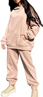 Women Fall Sports Outfits Long Sleeve Loose Hoodie Pullover+Jogger Pants Tracksuit 2 Pcs Sets