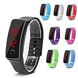 Orologi sportivi, orologio da polso in silicone LED Calendario digitale Bracciale da polso per donna Uomo Sweatproof Long Time Standby leggero(Black)