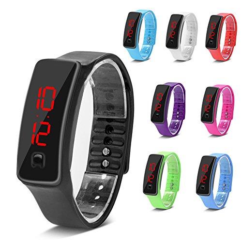 Relojes deportivos reloj de pulsera led de silicona calendario de tiempo pulsera pulsera digital para hombres de las mujeres impermeable a largo tiempo de suspensión ligero( Black)