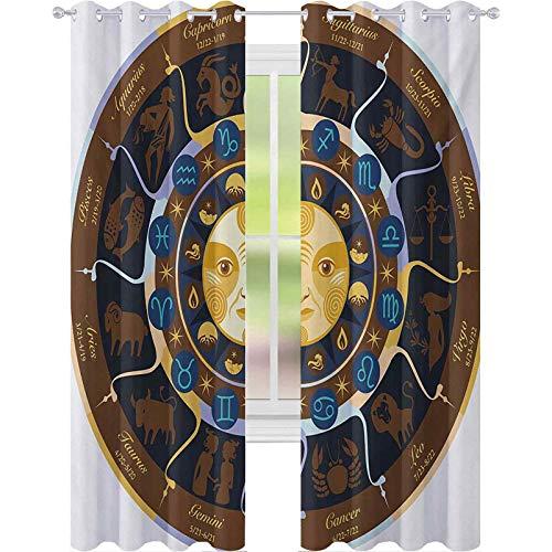 Cortinas con aislamiento térmico, Aries Taurus Gemini cáncer Leo Virgo Libra Escorpio signos horóscopo, cortinas de 63 pulgadas de largo bloqueadas para sala de estar, marrón, amarillo y azul