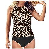 ZODOF Tankini para Mujer Halter Sexy Cintura Alta Conjunto de Bikini Tops Push up con Acolchado Interior extraíble Swimsuit para el Mar, Playa, Piscina, Fiesta, Vacaciones