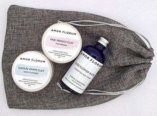 ARGILLA ROSA FRANCESE (75 g) KAOLINA (40 g) ACQUA DI ROSA (100 ml) - AMOR FLORUM - Ideale per pelli normali. Esfolianti delicati. Con acqua di rosa per mescolare le argille e pulire la pelle.