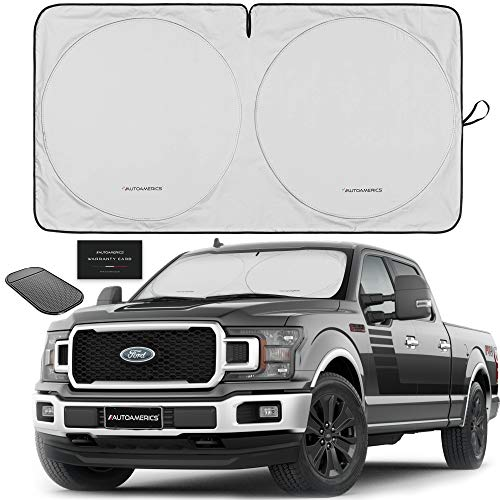 Autoamerics 1-Piece Windshield Sun Shade Foldable Car Front Window Sunshade for Big SUV Trucks Vans - Best Heat Shield Blocker Sunscreen Cover Blocks Max UV Rays and Keeps Your Vehicle Cool - X-Large