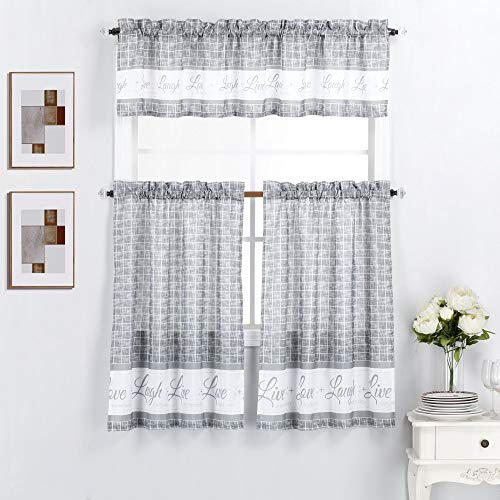 "Interior Trends 3 Piece Kitchen Window Curtain Panel Tiers and Valance Set (36"" Tiers Set, Live Love Laugh Gray)"