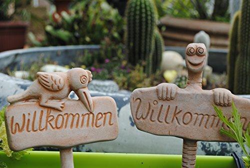 Kunert-Keramik Gartenstecker,Willkommen,2er Set,Nr.3, 24cm hoch