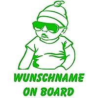 Individueller Wunsch Name Baby Auto Sticker wetterfest. Cooler Hangover Baby mit Kappe & Brille Autoaufkleber mit dem eigenen Namen und Text. Zeigen Sie mit dem Car Dekor und auf lustige Art stolz, dass Sie Ihr Kind an Board des Autos haben. Babystic...