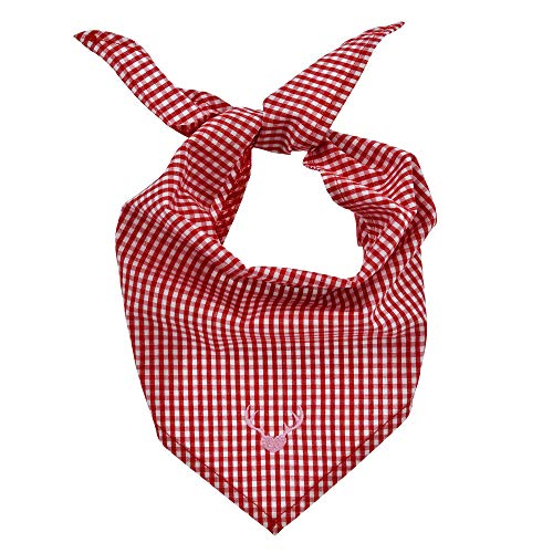 Baby-Webtuch 'Hirsch' aus Baumwolle I Schönes Mädchen-Tuch in Rot-Weiß I Dreieckiges Lätzchen, kariert mit Hirsch-Print I Dreieckstuch aus Webware I Wunderschöne & flauschige Kinderaccessoires