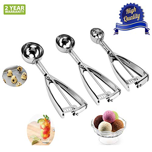 Ice Cream Scoop with Trigger Set of 3, 18/8 Stainless Steel Metal Small Medium Large Cookie Dough Scoop for Baking Melon Ball Cupcakes 1+1.5+2 Tablespoon