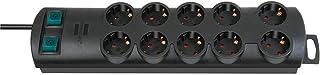 Brennenstuhl Primera-Line, Steckdosenleiste 10-fach Steckerleiste mit 2 Schaltern für je 5 Steckdosen und 2m Kabel Farbe: schwarz
